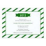 Modern ribbon green stripe graduation invitation