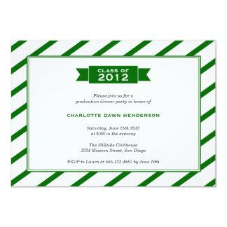 "Modern ribbon green stripe graduation invitation 5"" x 7"" invitation card"