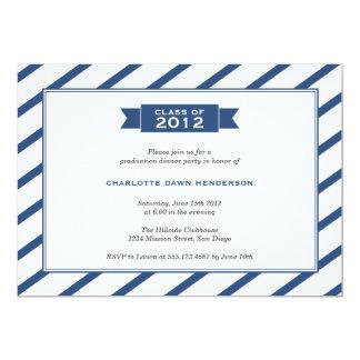"Modern ribbon navy stripe graduation invitation 5"" x 7"" invitation card"