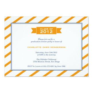 "Modern ribbon orange stripe graduation invitation 5"" x 7"" invitation card"