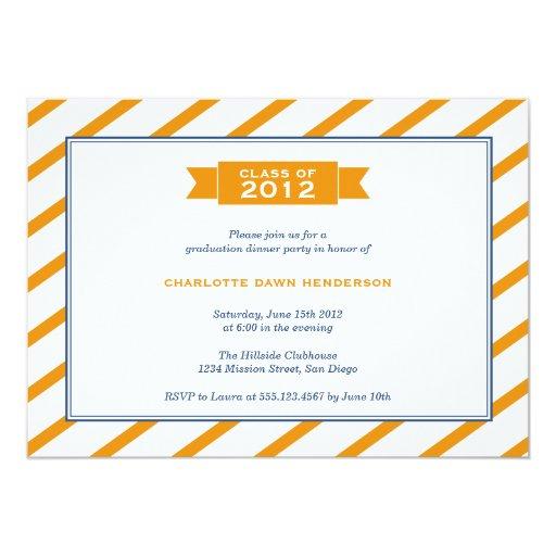 Modern ribbon orange stripe graduation invitation