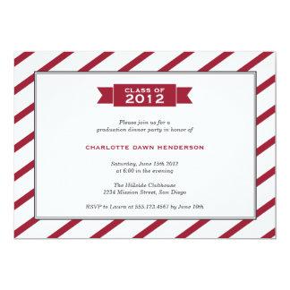 "Modern ribbon red stripe graduation invitation 5"" x 7"" invitation card"