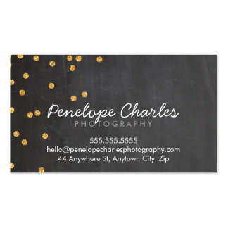 MODERN rich gold glitter confetti dots chalkboard Pack Of Standard Business Cards
