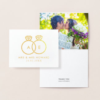 Modern Rings Gay Wedding Custom Photo Thank You Foil Card