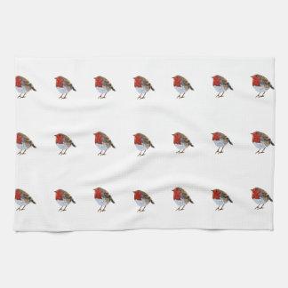 Modern Robin Illustration Tea Towel