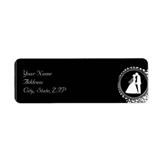 Modern Romantic Couple Silhouette Return Address Return Address Label
