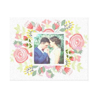 Modern romantic flowers with custom photo canvas print