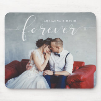 Modern Romantic | Forever Script with Photo Mouse Pad