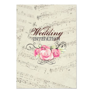 Modern Romantic Music notes Music Wedding Card