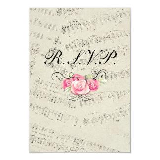Modern Romantic Music notes Wedding RSVP response Card