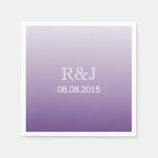 modern romantic summer lilac ombre purple wedding paper serviettes