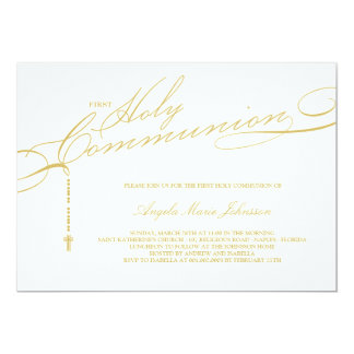 Modern Rosary First Holy Communion Stylish Invite