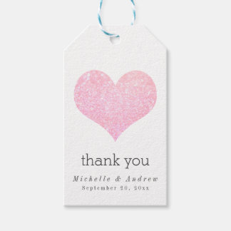 Modern Rose Faux Glitter Heart Thank You Wedding Gift Tags