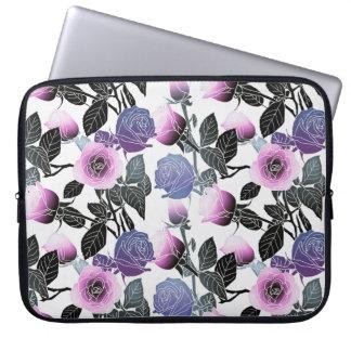 Modern Rose Floral Design Laptop Sleeve -Pink/Blue