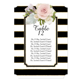 Modern Rose Floral Wide Striped Table Seating List Card