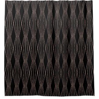 Modern Rose Gold Abstract Diamond Pattern Shower Curtain