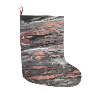 Modern rose gold abstract marbleized paint large christmas stocking