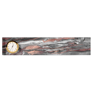 Modern rose gold abstract marbleized paint nameplates