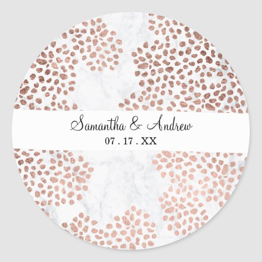 Modern rose gold abstract polka dots white marble classic round sticker