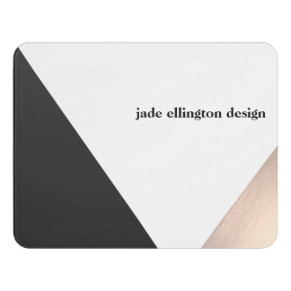 Modern Rose Gold and Black Geometric Business Card Door Sign