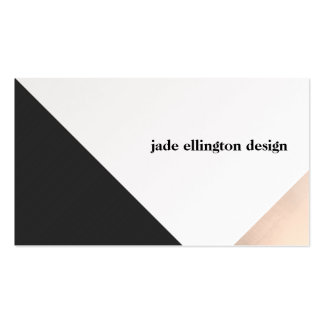 Modern Rose Gold and Black Geometric Pack Of Standard Business Cards
