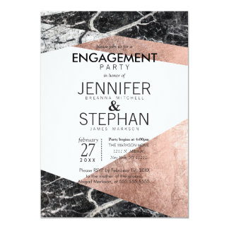 Modern Rose Gold and Marble Engagement Party Card