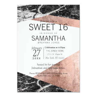 Modern Rose Gold and Marble Sweet 16 Invitations