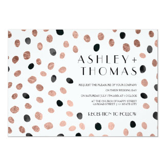 Modern rose gold black watercolor dots wedding card