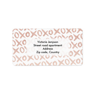 Modern rose gold blush pink love xoxo typography address label