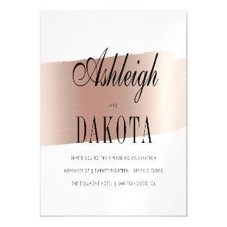 Modern Rose Gold Brush Stroke Wedding Magnetic Card