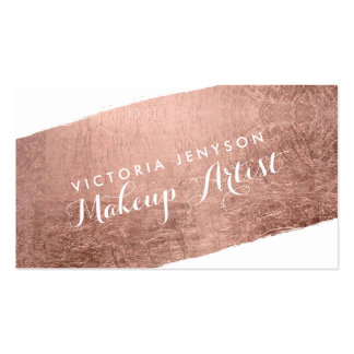 Modern rose gold brushstroke chic makeup artist pack of standard business cards