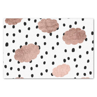 Modern rose gold clouds black rain polka dots tissue paper