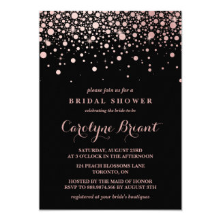 Modern Rose Gold Confetti Black Bridal Shower 13 Cm X 18 Cm Invitation Card