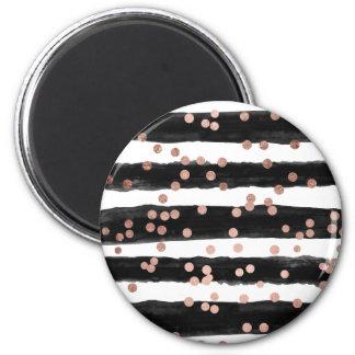 Modern rose gold confetti black watercolor stripes 6 cm round magnet