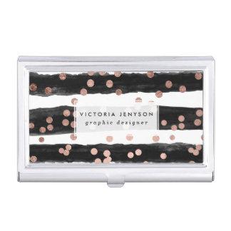 Modern rose gold confetti black watercolor stripes business card case