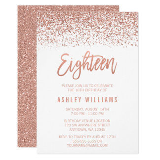 Modern Rose Gold Faux Glitter 18th Birthday Card