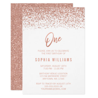 Modern Rose Gold Faux Glitter 1st Birthday Card