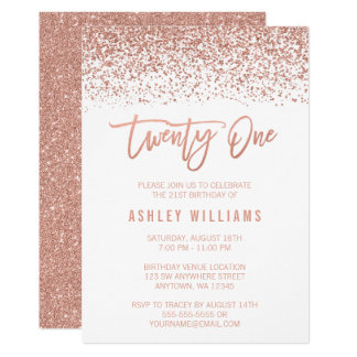Modern Rose Gold Faux Glitter 21st Birthday Card