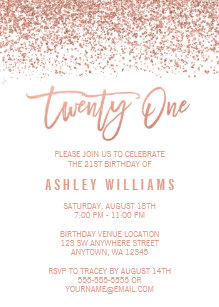 21st birthday invitations zazzle au modern rose gold faux glitter 21st birthday invitation filmwisefo