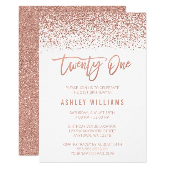 modern rose gold faux glitter 21st birthday invitation zazzle com au