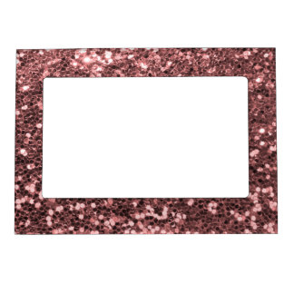Modern Rose Gold Faux Glitter Pink Print Magnetic Picture Frame