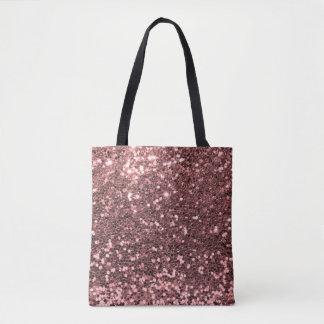 Modern Rose Gold Faux Glitter Pink Print Tote Bag