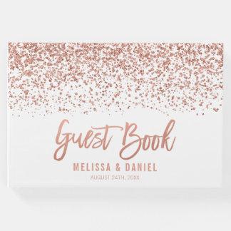 Modern Rose Gold Faux Glitter Wedding Guest Book
