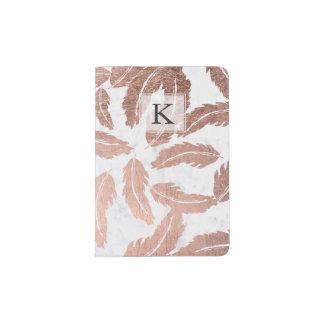 Modern rose gold feathers pattern white marble passport holder