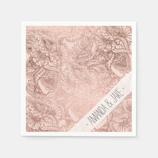 Modern rose gold floral illustration on blush pink disposable serviette