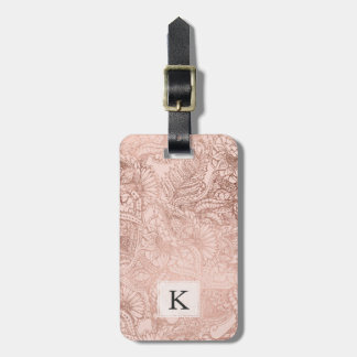Modern rose gold floral illustration on blush pink luggage tag