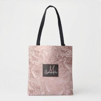 Modern rose gold floral illustration on blush pink tote bag
