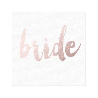modern rose gold foil bride canvas print