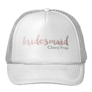 modern rose gold foil bridesmaid cap