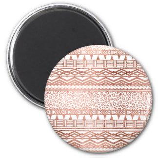 Modern rose gold geometric aztec leopard pattern 6 cm round magnet